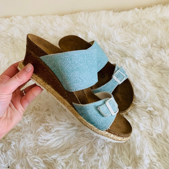 Papillio Birkenstock Womens Della Black Wedge Sandals Shoes Sz 7 M US 38 EU
